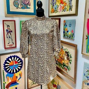 NWT Zara Animal Gold Mockneck Party Mini Dress
